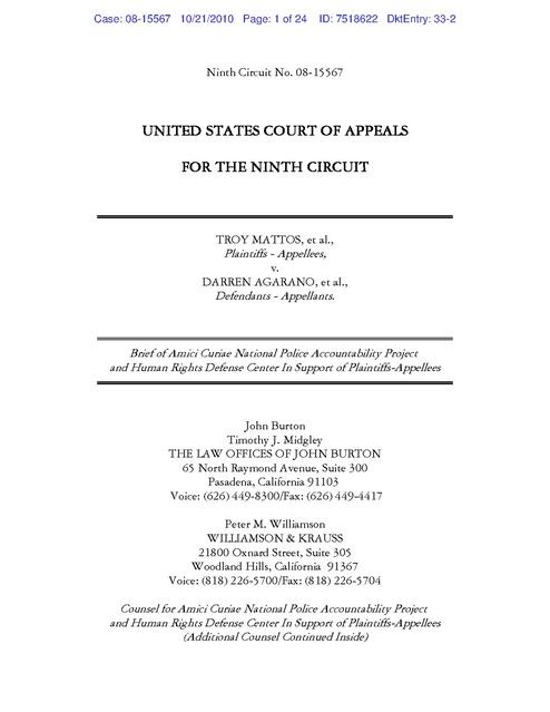 Mattos v. Agarano, Amicus Brief HRDC, Taser case, 2010 | Human ...