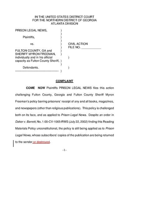 Prison Legal News v  Freeman, Complaint, Fulton County Jail