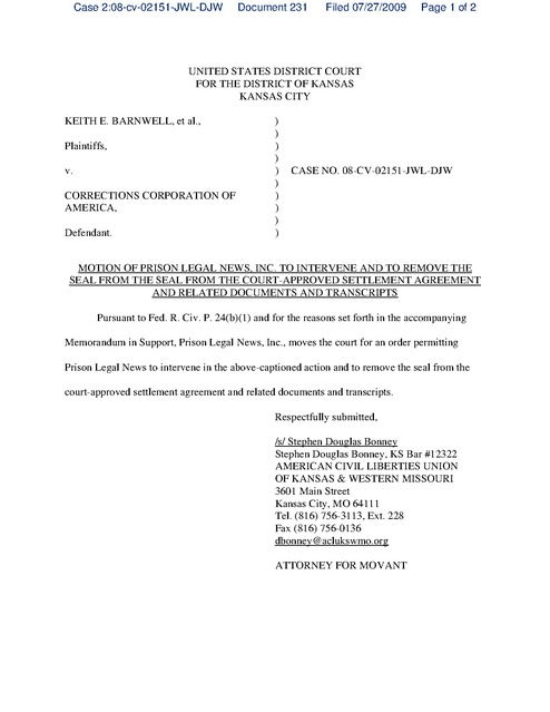 barnwell v corrections corporation of america pln motion to