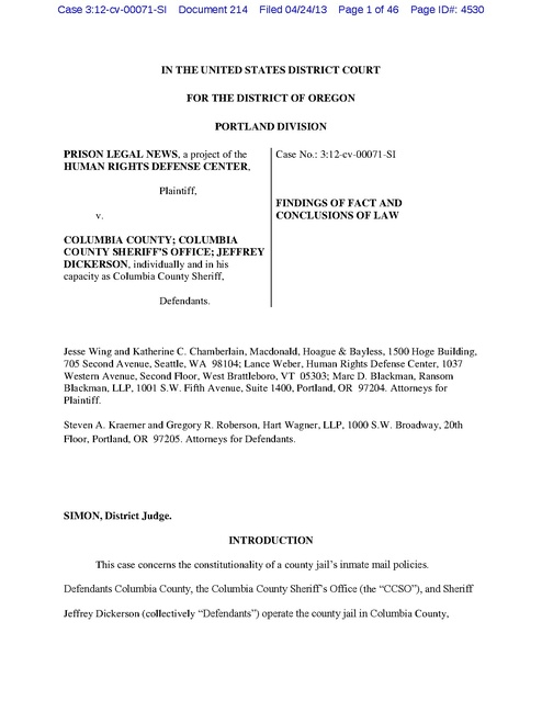 Prison Legal News v  Columbia County, Findings of Fact re