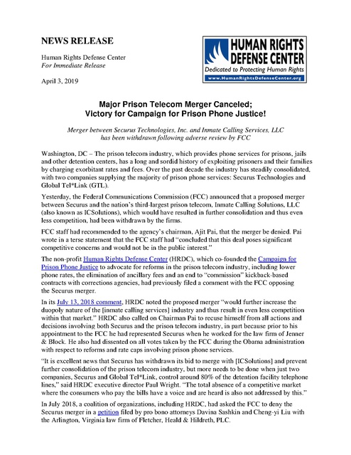 Securus Prison Phone Merger Withdrawn - Victory for Campaign for