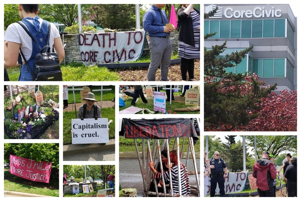 Protesters gathered outside CoreCivic's annual shareholders' meeting May 10, 2018, Nashville, Tennessee