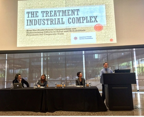 HRDC Associate Director Alex Friedmann speaking at Abolish Private Prisons conference, April 2017